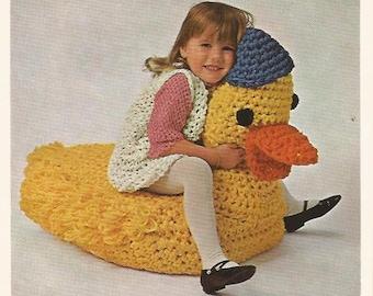 Crochet Pattern, Crochet Duck Pillow, Instant Download Pattern, Duck Decor, Nursery Room Decor,