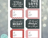 INSTANT DOWNLOAD Christmas gift tag - Chalkboard Patterns