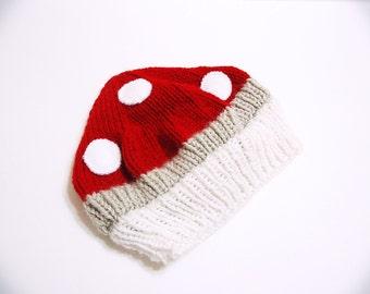 Baby Mushroom Knitted Hat  (Baby Toad, Nintendo Baby, etc...)
