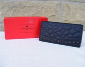 Charles Jourdan Purse Wallet Black Gold Hardware Studs Stitched Design With Box French Designer
