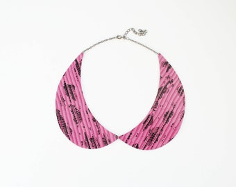 Peter Pan collar necklace, pink collar, leather necklace, pink black, fuchsia necklace, col claudine, summer trends, gift for her