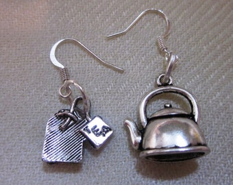 Teapot and Tea Bag Mismatched Silver Earrings - one pair