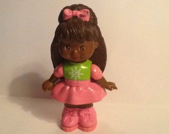 Vintage 1993 McDonalds Mattel heart and star confetti punch Happy meal toy African American Doll