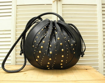SAMIR Brand Studded Vintage Black Leather Drawstring Handbag