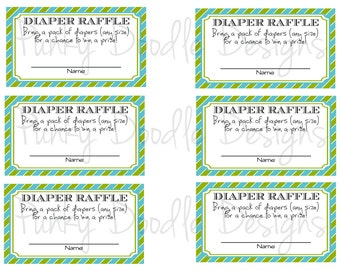 Little Man Baby Shower - Diaper Raffle Tickets - Digital File - Instant Download