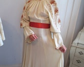 SALE 1960s EMBROIDERED Folk Hippie WEDDING Dress looks like Roumanian work