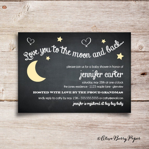 Love You To The Moon And Back Baby Shower Invitations as great invitations sample