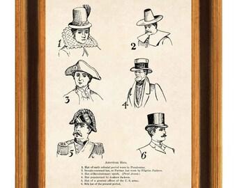American Hats Print, vintage hat illustration, fashion art, wall art Matte 8x10 print, Collection of American Hats