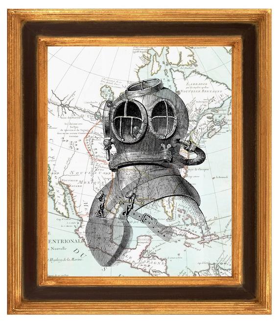 Vintage Nautical Bedding: Items Similar To Scuba Diving Helmet Print, Deep Sea Dive