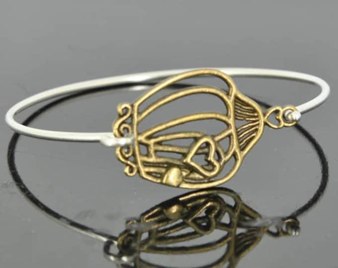 Birdcage Bangle, Sterling Silver Bangle, Birdcage Bracelet, Stackable Bangle, Charm, Bridesmaid Bangle, Bridesmaid jewelry, Bridal Bracelet