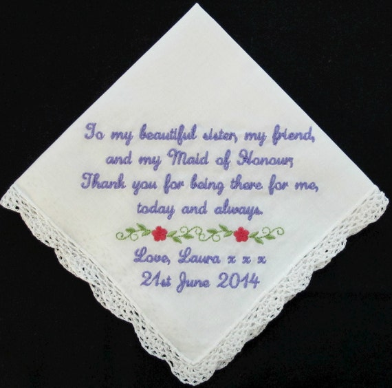 Embroidered Wedding Handkerchief for Sister of the Bride