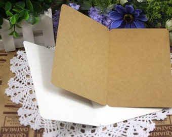 Folded Blank KRAFT Greetings Cards Rounded Corners 300g: 10 Pieces