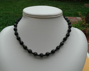 Black Czech Fire Polished Glass Bead Choker Necklace
