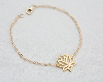 Gold Lotus bracelet,Lotus jewelry,Yoga bracelet,skinny bracelet,Everyday jewelry,Bridesmaid gifts,Wedding Jewelry