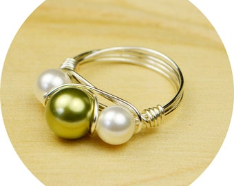 Swarovski Pearl Ring-  Sterling Silver Filled Wire Wrap Ring with Green and White Crystal Pearls -Size 4, 5, 6, 7, 8, 9, 10, 11, 12, 13, 14