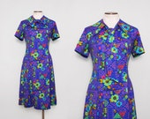 Psychedelic Dress. 70s Floral Dress. Purple Day Dress. Vintage Hippie Dress. Tie Neck Dress. Fit and Flare Dress. Pussy Bow Dress Size Large