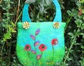 Blue/Green Hand Felted Bag