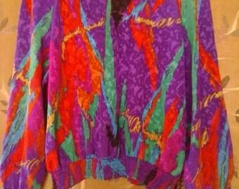 80s crazy coloured shiny blouse / jacket