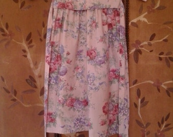 80s childs maxi pink rose and chrysanthemum dress