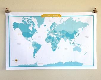 World Map Fabric - Blue/Aqua/Turquoise - modern design print - 1 yard