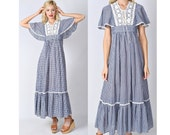 Vintage 70s Navy Blue Boho Dress Hippie Gingham Crochet lace Maxi Cape Slv Small 0738