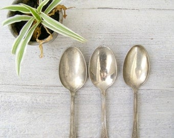 Antique Italian Silver 800 Serving Spoon Set of 3, Classic Victorian Silverware Utensils, Hostess gift, Mid century, Newlywed wedding gift