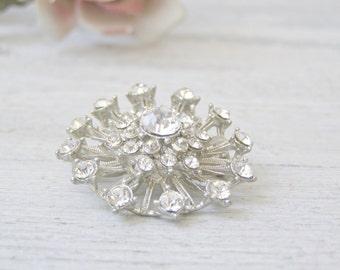 Art Deco StarBurst Silver & Rhinestone Pin Brooch, Mid century Jewelry Accessories, Retro Fashion Glamor Pendant brooch, Silver scarf Pin