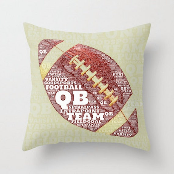Football Throw Pillow Typography Kids Room by BrandiFitzgerald