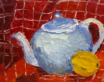 Small Colorful Still Life Oil Painting Teapot and Lemon