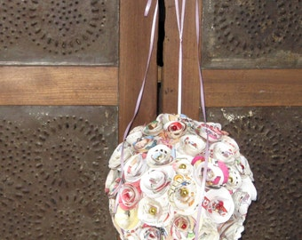 Vintage Paper Rose Pomander/Wedding Rosette Bouquet/Kissing Ball