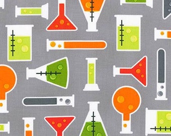 Science Beakers on Gray from Robert Kaufman