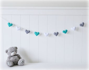 Heart banner/ garland/ bunting in turquoise, white and gray felt - Nursery decor - birthday decoration - MADE TO ORDER