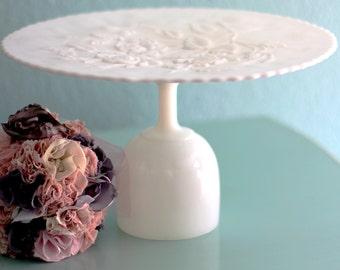 "Milk Glass Cake Plate Pedestal / 12"" Cake Stand / Vintage Rose MilkGlass CakePlate"