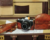 Cow leather COMBO case for Olympus E-M10 em10 include vintage brown leather full case and leather strap
