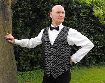 "Legendary Victorian Steampunk Fluer Di Lis waistcoat Brocade Wedding Waistcoat / Vest - 42"" Chest - Silver / Black"