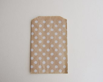 medium kraft and white dot paper goody party favor bags (10 bags)
