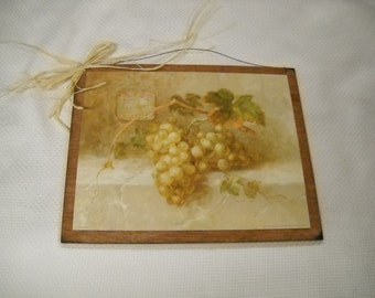 champagne wine tuscan kitchen grapes wooden wall art sign