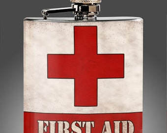 First Aid Flask - Vintage Whiskey Flask, 21st Birthday, tequila, Liquor, Funny Gifts - womans  mens Stainless Steel 6 oz Liquor Hip Flask