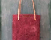 TOTE /// hand dyed and waxed rose canvas tote with natural leather straps