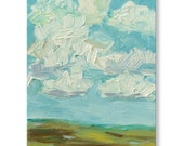 Impressionistic Landscape. Thick Impasto Brushstrokes, Original Handpainted Oil Painting. Clouds, Size 8 x 10 canvas