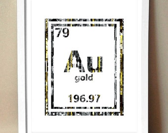 Au periodic table etsy art print golden periodic table of elements gold au magazine strip art urtaz Image collections