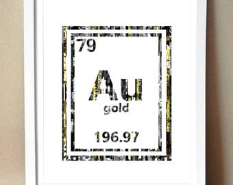 Au periodic table etsy art print golden periodic table of elements gold au magazine strip art urtaz