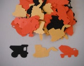 Construction Truck Confetti (Dump Truck, Trackhoe & Cement Mixer) - 100 pieces - Black, Yellow and Orange or Your Choice Of Colors