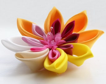 Colorful Fascinator -  Colorful Hair Flower  -  Yellow and Pink Kanzashi Flower - Colorful Wedding Fascinator - Wedding Hair Flower