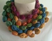 Bubble Puff Stitch Scarf Necklace, Multicolor Bubble Scarf Necklace, Usa Seller