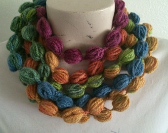 Bubble Puff Stitch Scarf Necklace, Multicolor Bubble Scarf Necklace