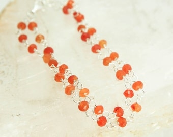 Carnelian Bracelet - Sterling Silver Double Strand Wire Wrapped Orange Gemstone - Courage, Protection, Grounding, Healing
