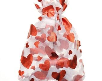 "25pcs Red Heart Organza Gift bags 3.5""X5"""