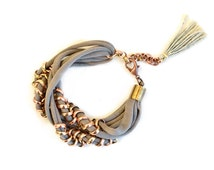 Light Brown Fabric Bracelet, Woven Chain and Jersey, Oatmeal Brown Layering Bracelet and Oldgold Chain