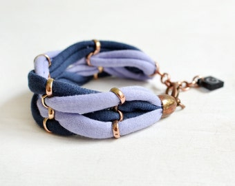 Fabric Bracelet, Blue Bracelet, Casual Jewelry, Woven Bracelet, Jersey Bracelet, Colorblocking, Braided Bracelet